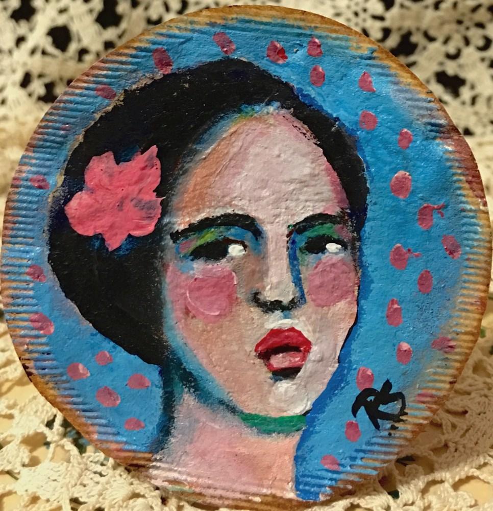 """Tea Bag Portrait - Rosanna"" original fine art by Roberta Schmidt"