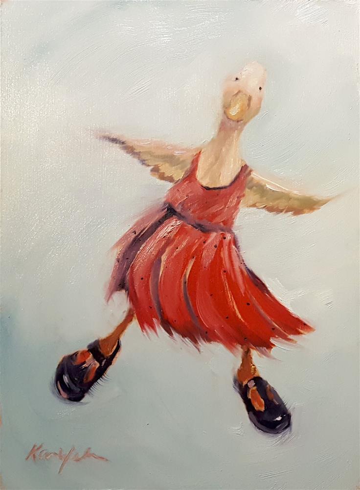 """Learning to Waddle"" original fine art by Karen Weber"