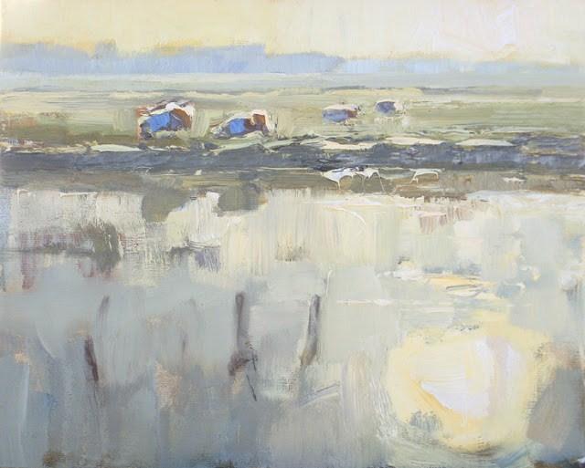 """Landscape #14 sheep water and light (SOLD) Schapen in ochtendlicht"" original fine art by Roos Schuring"