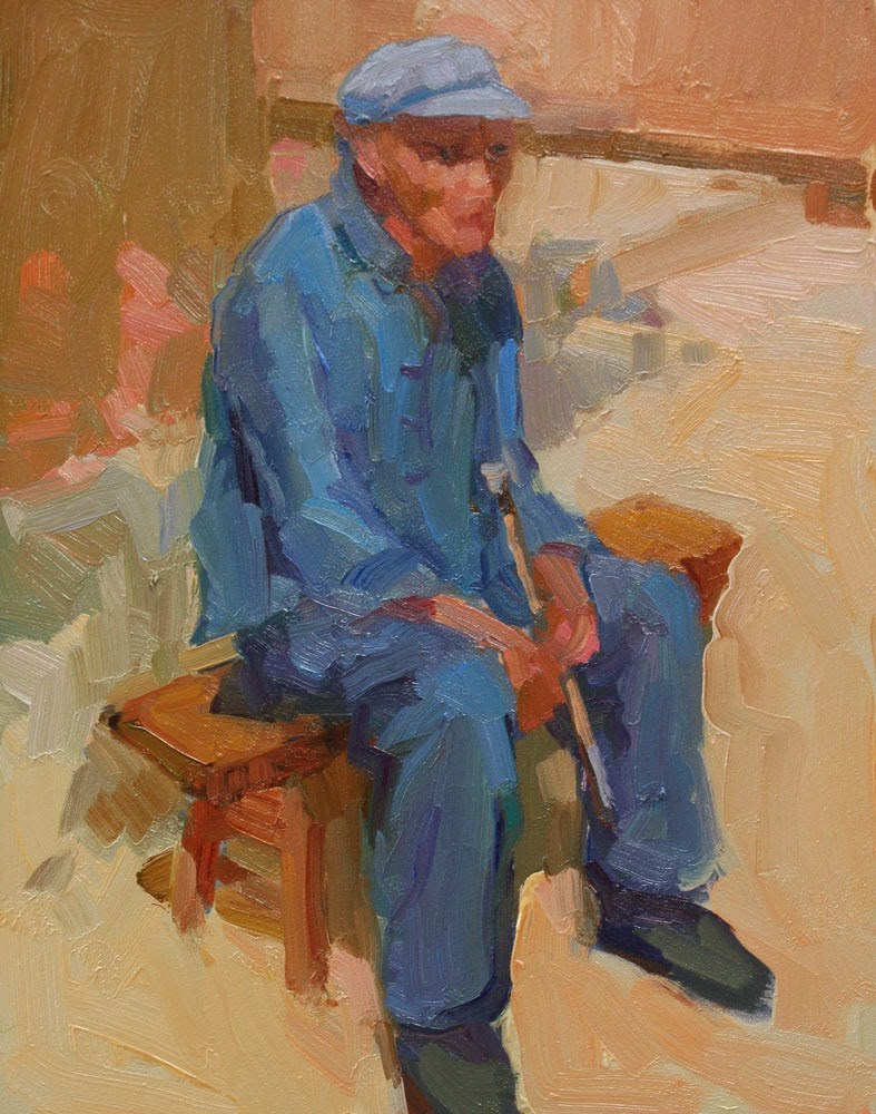 """Old Man with Pipe - NFS"" original fine art by Kathryn Townsend"