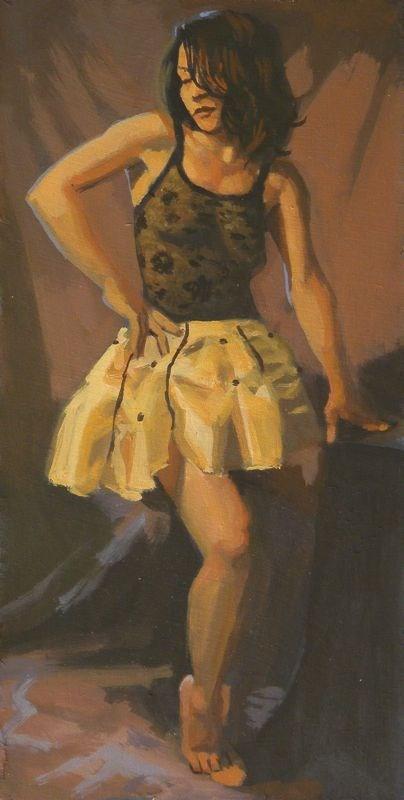 """""""Yellow skirt"""" original fine art by Peter Orrock"""