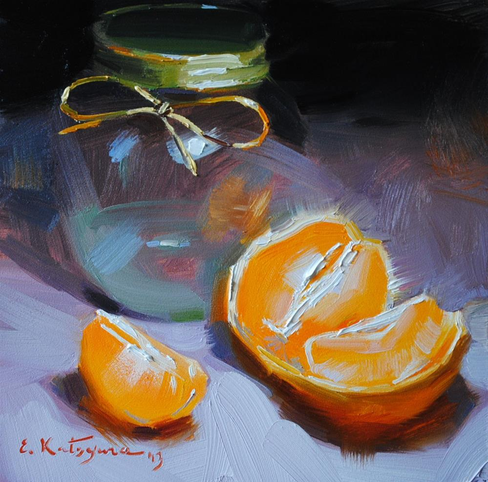 """Jar and Orange"" original fine art by Elena Katsyura"