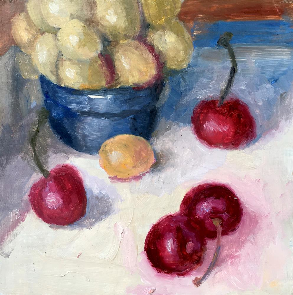 """""""038 Cherries and Grapes"""" original fine art by Fred Bell"""
