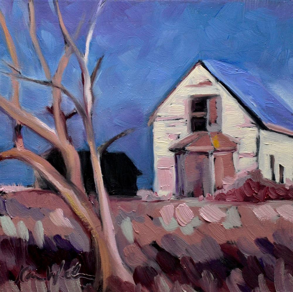 """""""Blue Roof"""" original fine art by Karen Weber"""
