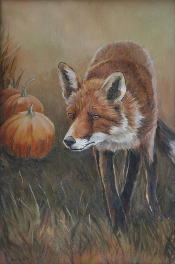 """Red Fox with Pumpkins"" original fine art by Charlotte Yealey"