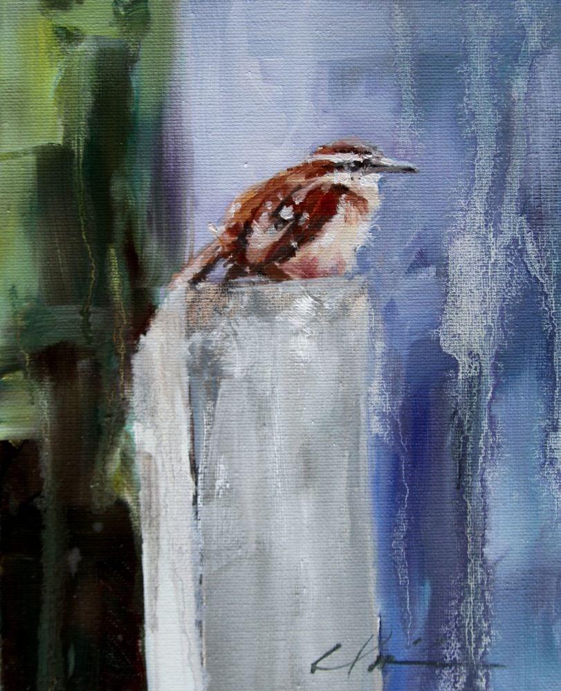 """Wren in the Rain"" original fine art by Clair Hartmann"