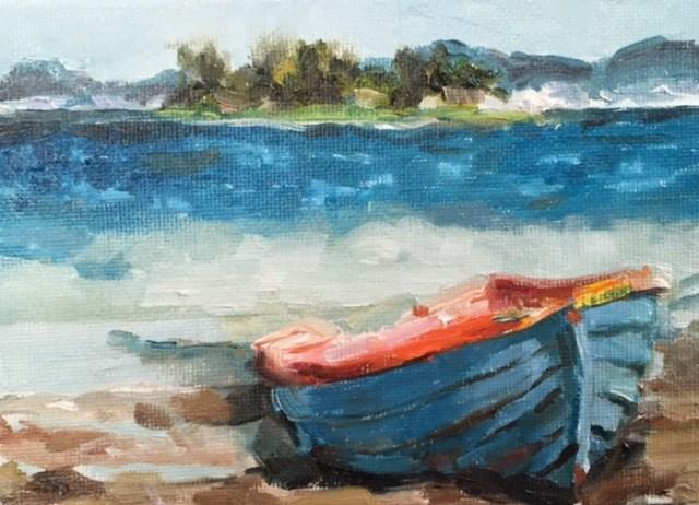 """Moored"" original fine art by Marcia Hodges"