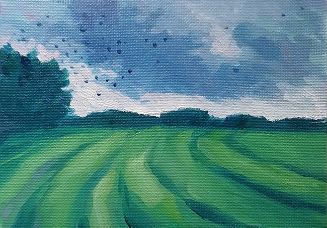 """""""Flocking Birds at Sundown"""" original fine art by J M Needham"""