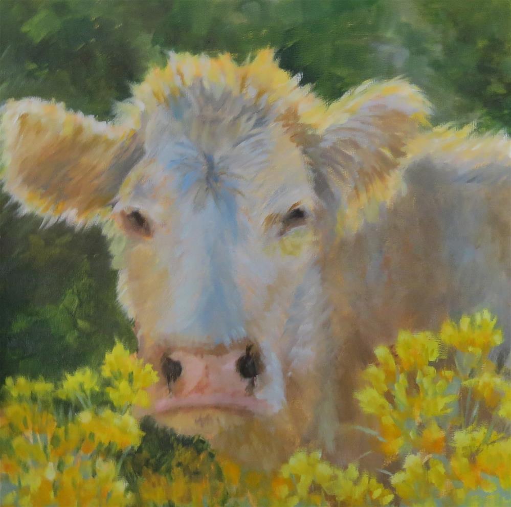 """""""Moo-ve Along"""" original fine art by Pam Holnback"""