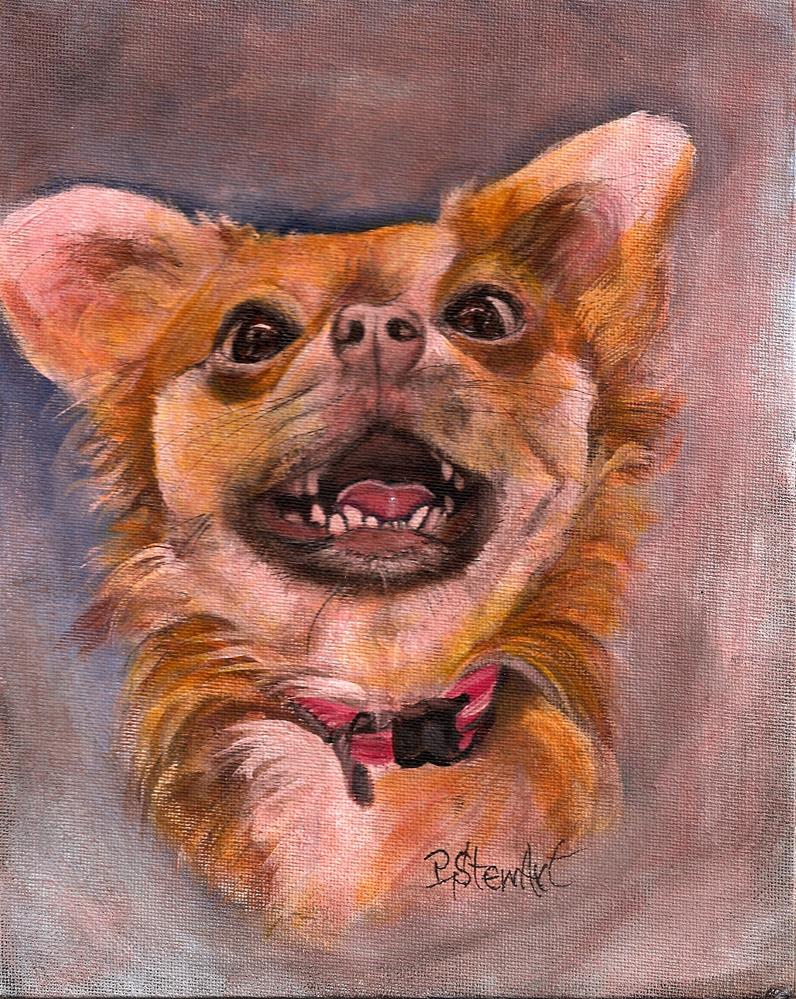 """""""8x10 Smiling Long Haired Chihuahua Puppy Dog Pet Portrait by Penny StewArt"""" original fine art by Penny Lee StewArt"""