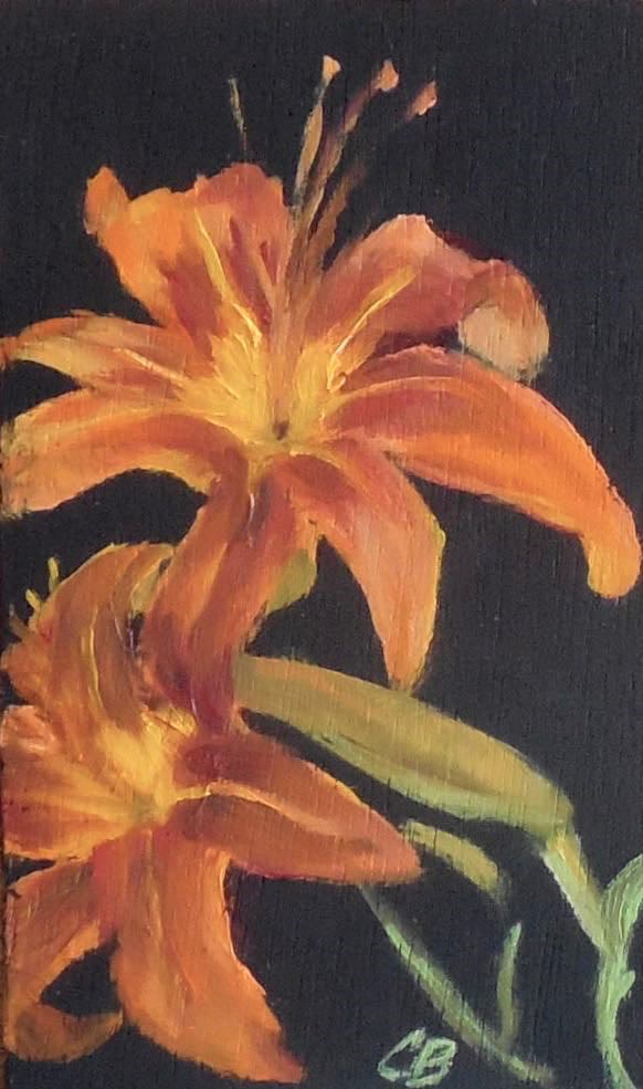 """Bronze Daylily, 3x5 Oil on Wood Panel Small Daily Painting"" original fine art by Carmen Beecher"