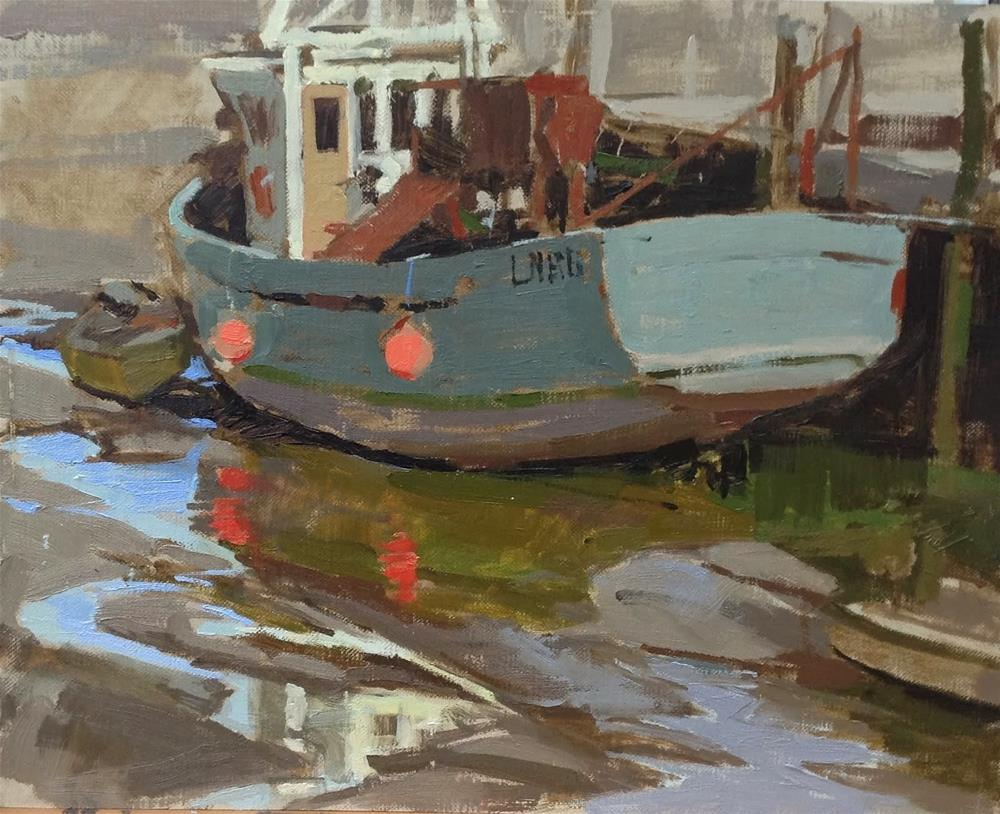 """""""Reflections at low tide, Brancaster Staithe"""" original fine art by Haidee-Jo Summers ROI"""