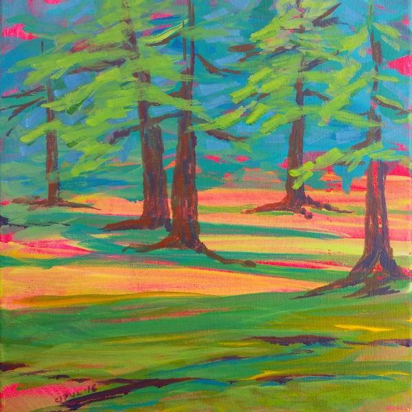 """""""Row River Schwarz Park Trees """" original fine art by Pam Van Londen"""