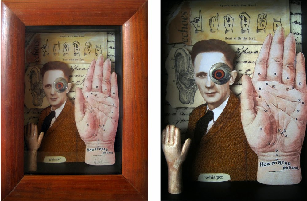 """Hand & Eye sign language assemblage mixed media collage shadow box altered art original"" original fine art by Linda Apple"