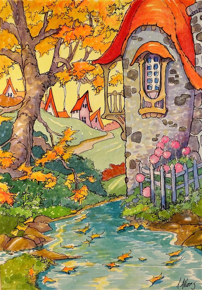 """""""The Autumn Pool Storybook Cottage Series"""" original fine art by Alida Akers"""