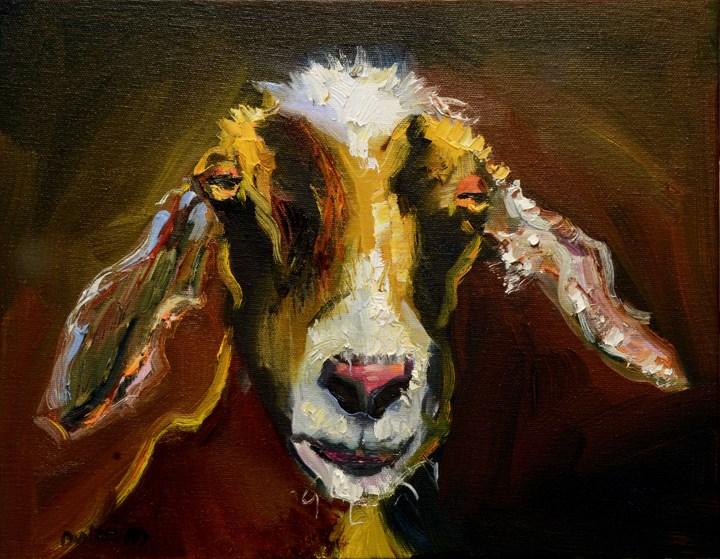 """""""ARTOUTWEST DIANE WHITEHEAD Goat Animal art oil painting"""" original fine art by Diane Whitehead"""