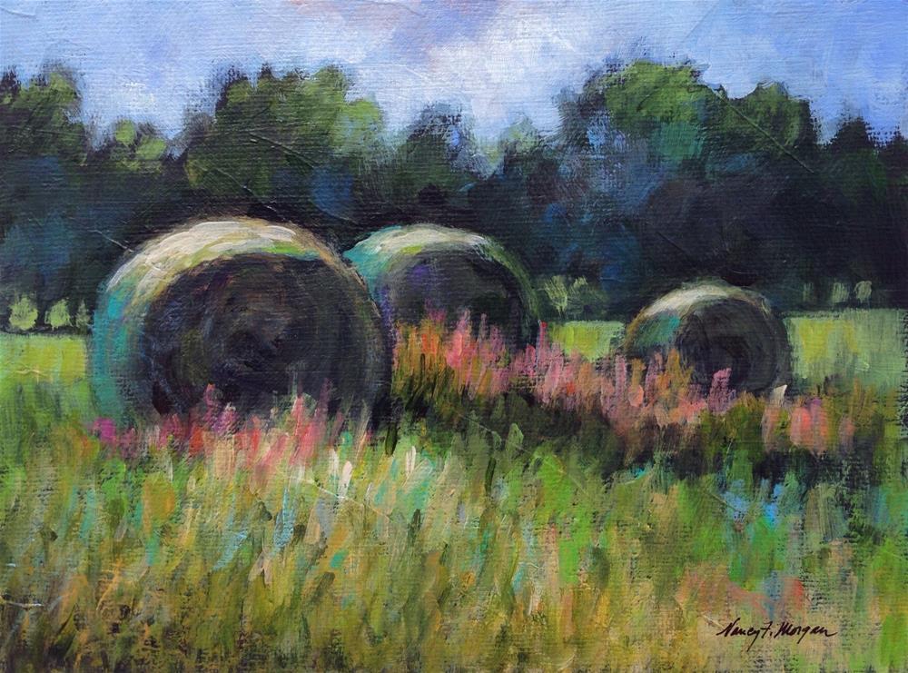 """""""Hay Bales"""" original fine art by Nancy F. Morgan"""