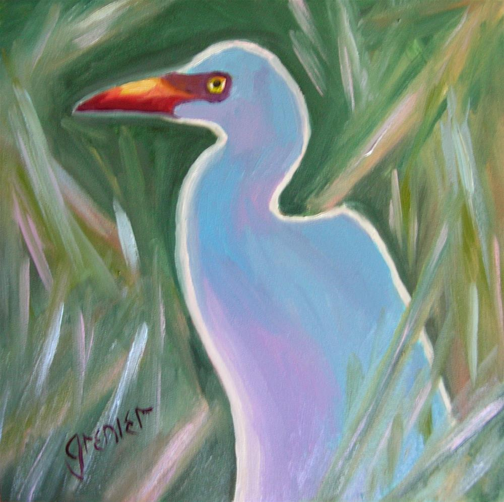 """Egret at Sunset"" original fine art by jean grenier"