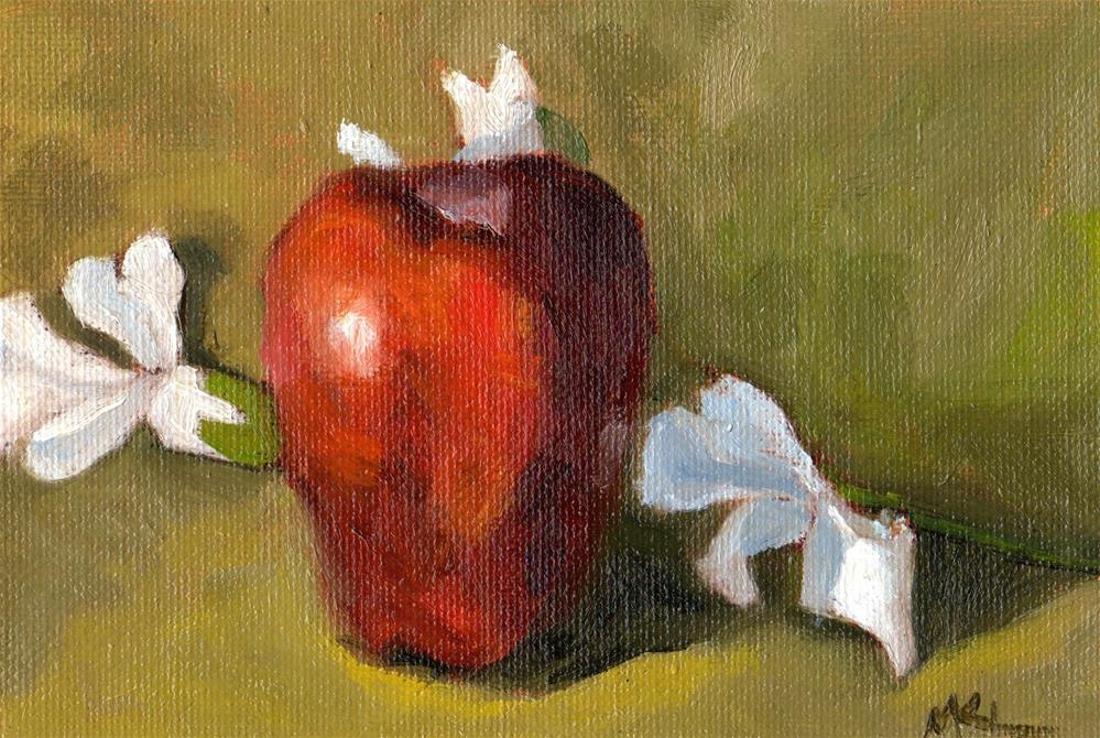 """Apple with White Flowers"" original fine art by Marlene Lee"
