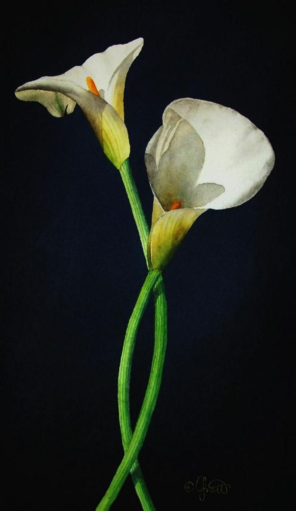 """Easter Calla Lilies"" original fine art by Jacqueline Gnott, TWSA, WHS"