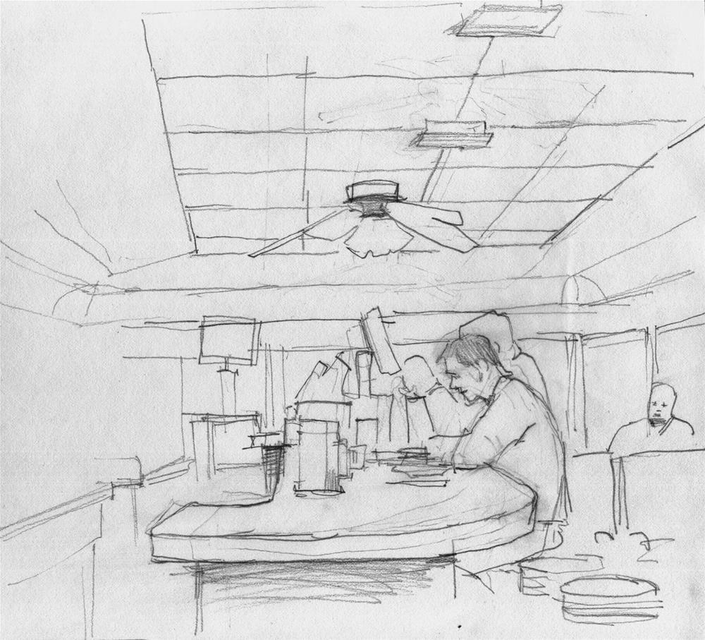 """Morning at the Seaplane diner"" original fine art by Kathy Weber"