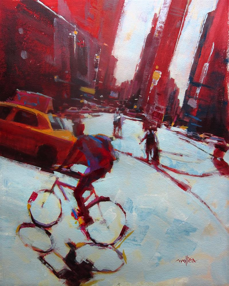 """City Biker"" original fine art by Patti Mollica"