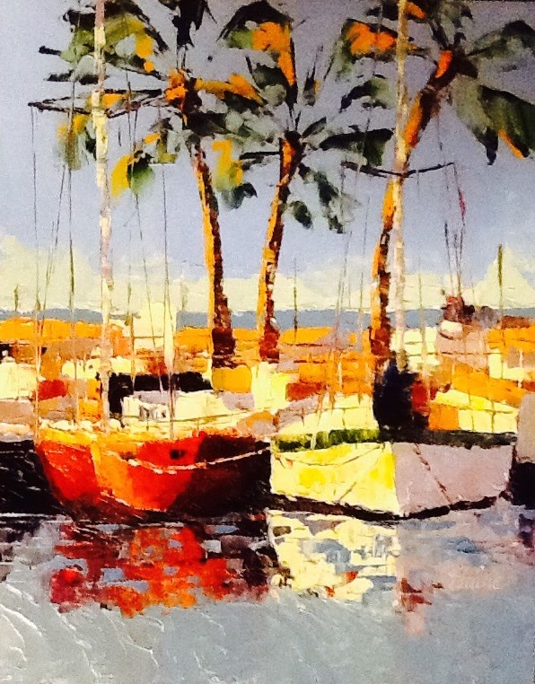 """Boats in the Sun"" original fine art by Elaine Ford"