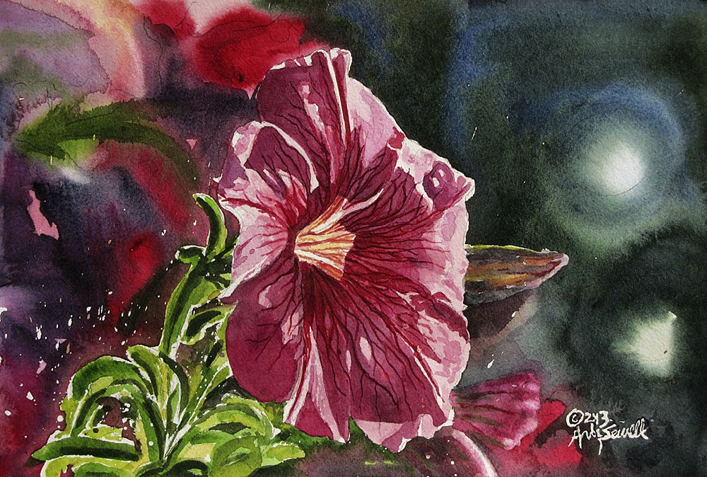 """""""Red Petunia"""" original fine art by Andy Sewell"""
