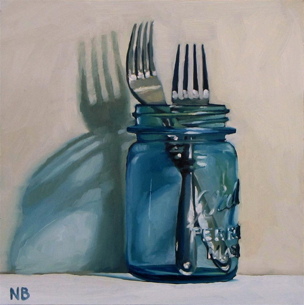 """Two Forks In A Jar"" original fine art by Nora Bergman"