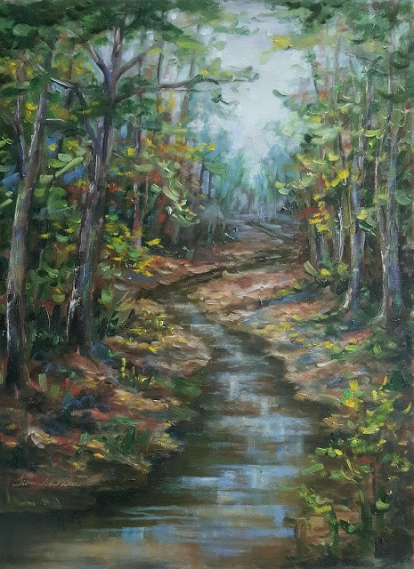 """""""Creekside Sycamores in Fall"""" original fine art by Tammie Dickerson"""