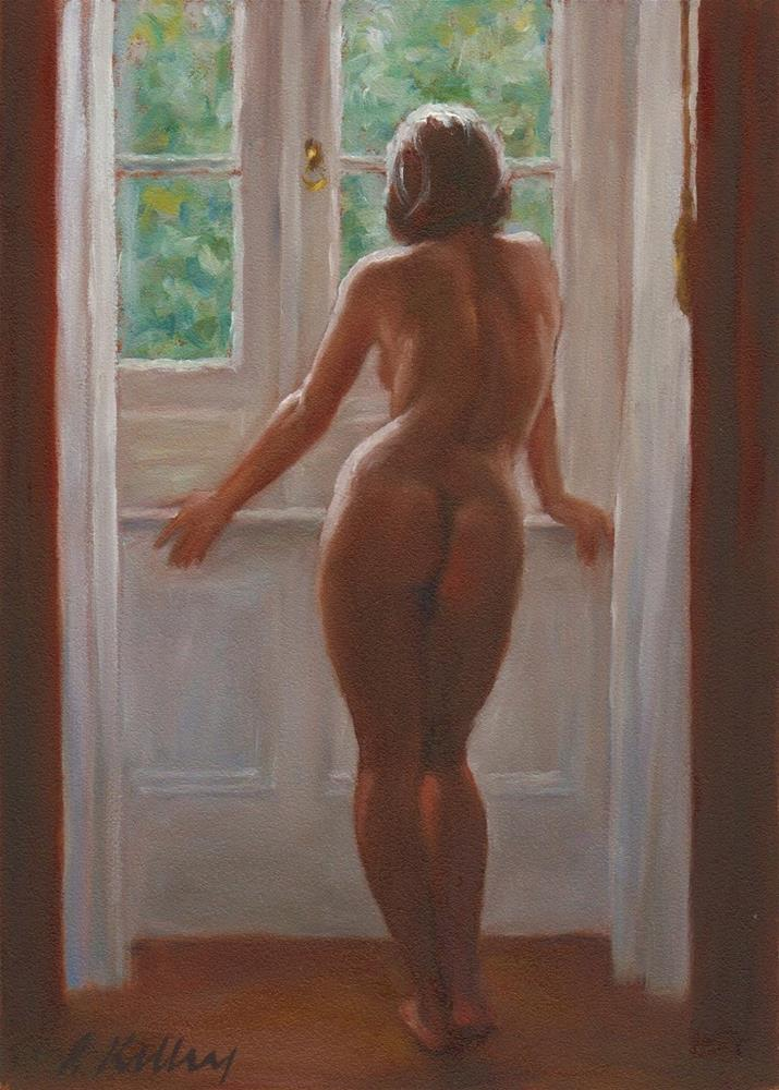 """Nude with Red Curtains"" original fine art by Pat Kelley"