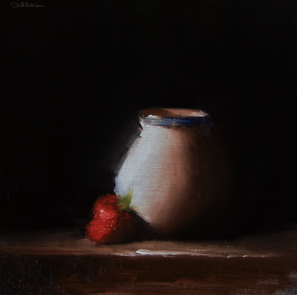 """""""Small Vase with Strawberry"""" original fine art by Neil Carroll"""