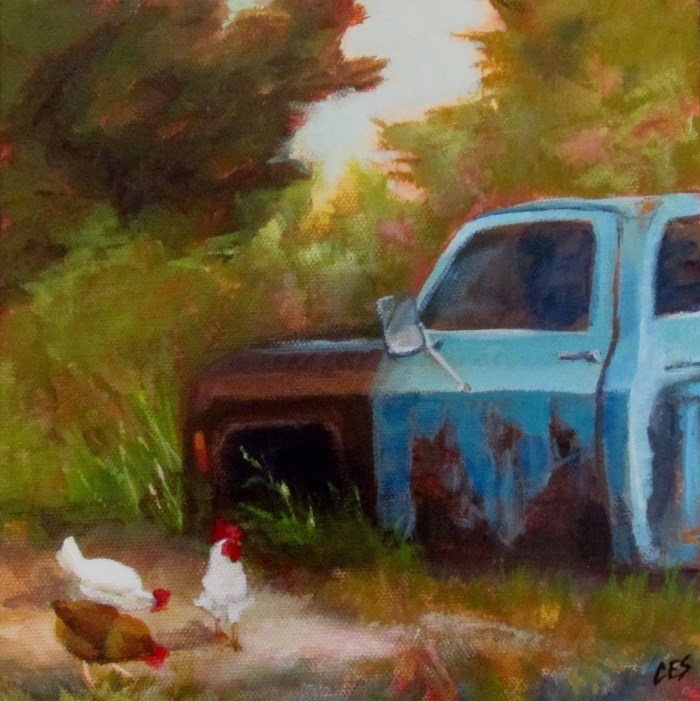 """""""Chickens Grazing by Old Blue"""" original fine art by ~ces~ Christine E. S. Code"""