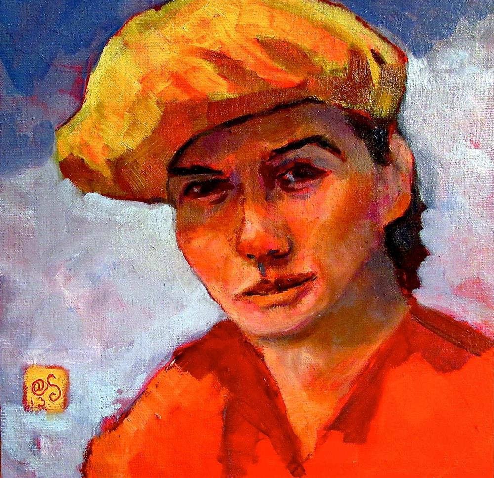 """""""The Yellow Beret"""" original fine art by Aurelio Saiz"""