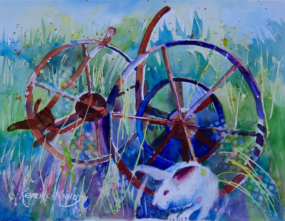 """""""Rusty Wagon and Old Hare. will be in CS Co for the Watermedia Show this month."""" original fine art by Reveille Kennedy"""