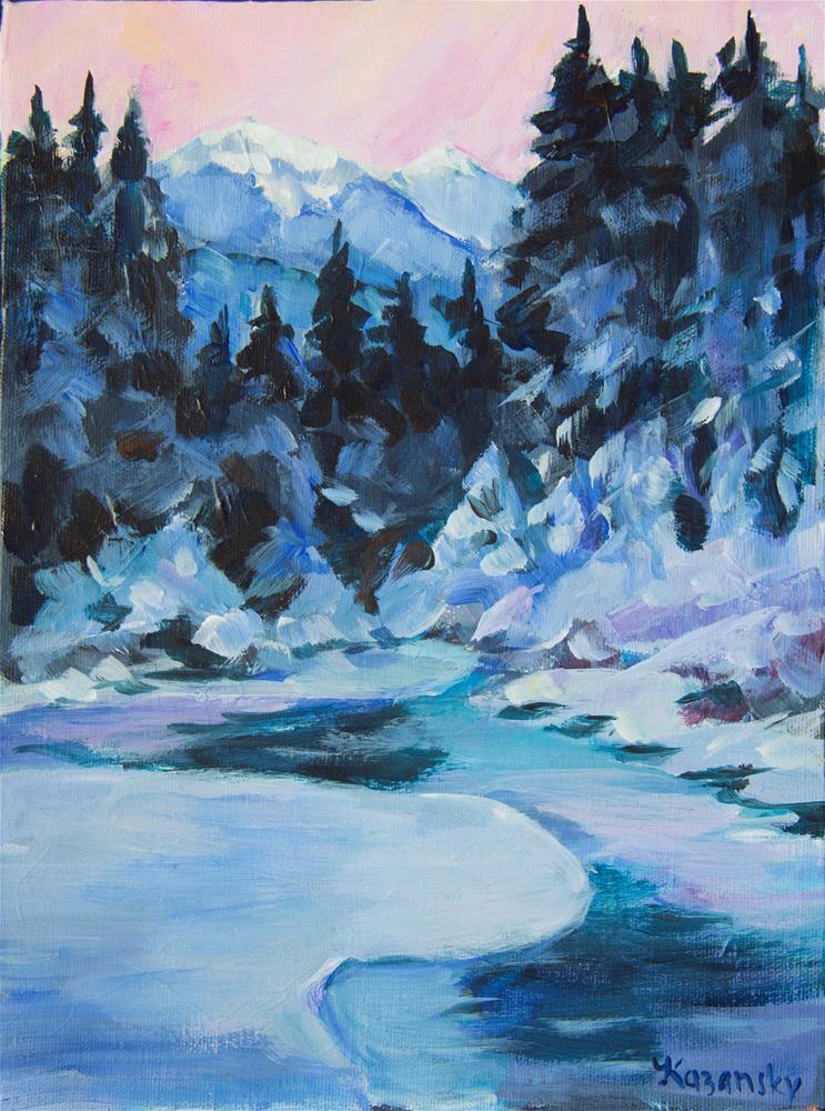 """Winter Forest Juneau Alaska"" original fine art by Yulia Kazansky"