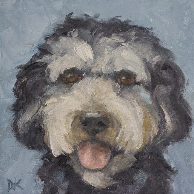 """Dog Days of Summer - Shep - Dog Portrait by Deb Kirkeeide"" original fine art by Deb Kirkeeide"