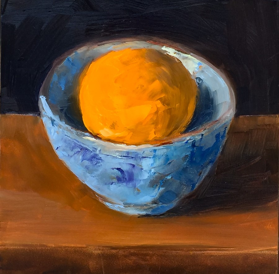 """#98 - Small Orange Big Bowl"" original fine art by Sara Gray"