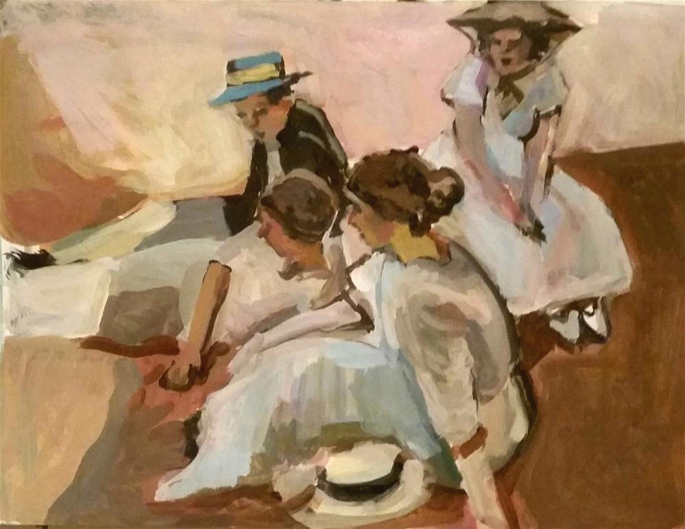 """A Lesson from Sorolla"" original fine art by Liz Maynes"