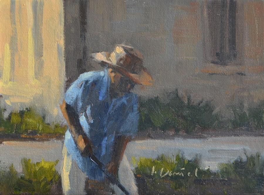 """The Gardener - men at work"" original fine art by Laurel Daniel"
