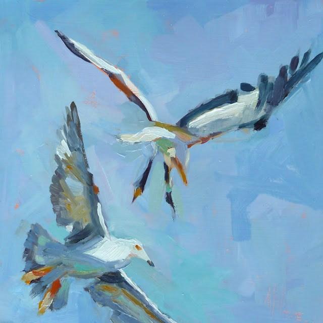 """Soaring 6x6 oil on panel. I'm a bird watcher. Love painting them too."" original fine art by Mary Sheehan Winn"
