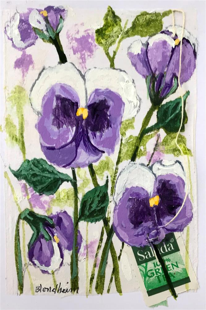 """Tea Bag Painting Pansies"" original fine art by Linda Blondheim"