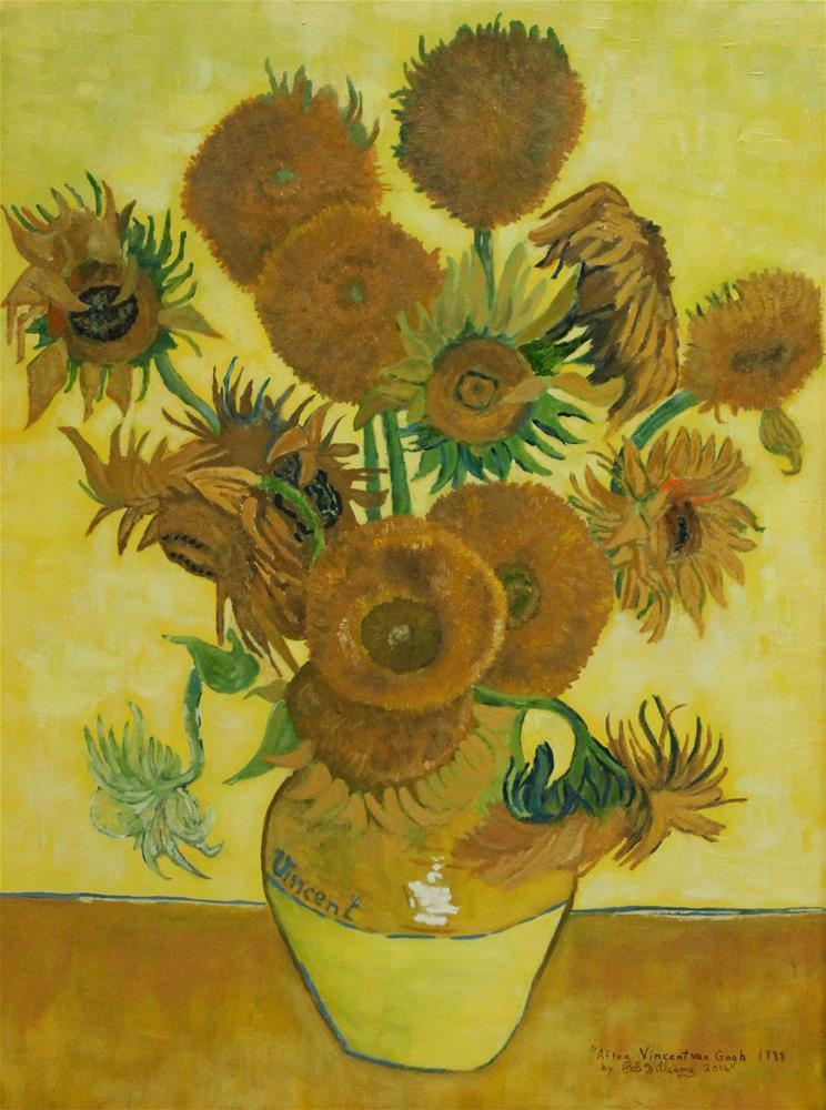 """Vase With Fifteen Sunflowers"" original fine art by Bob Williams"