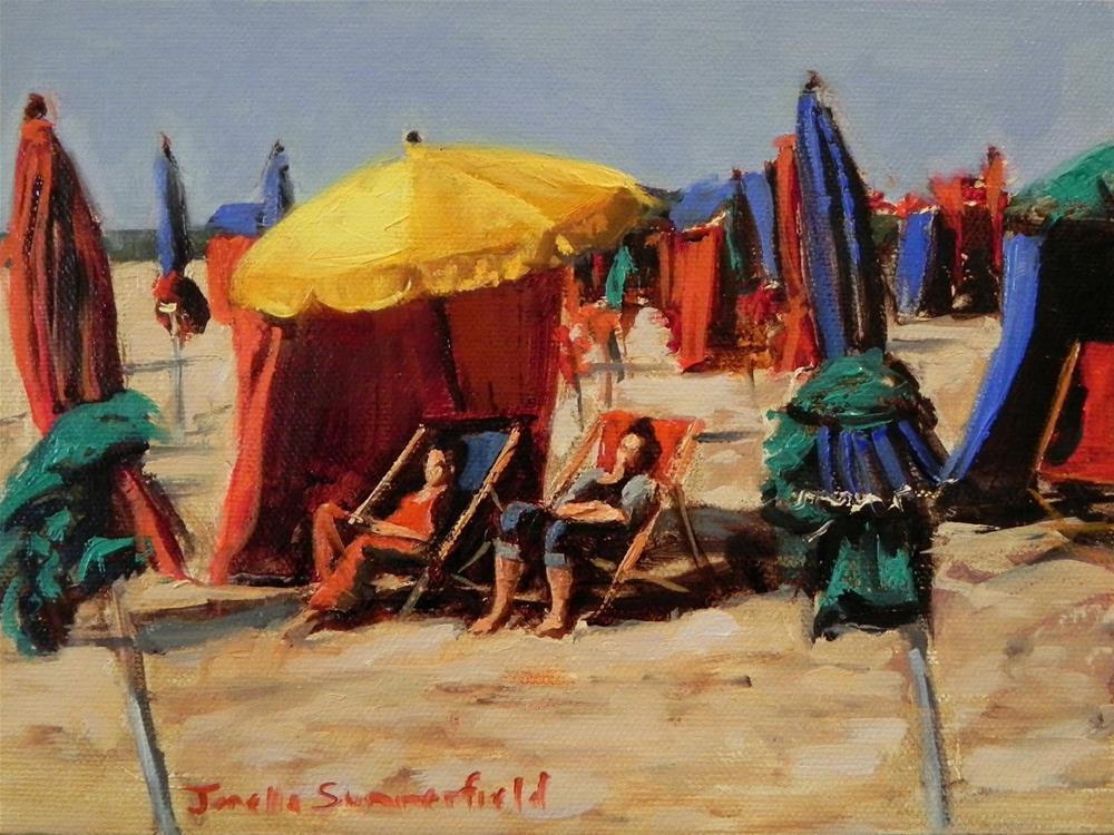 """Deauville Beach Umbrellas"" original fine art by Jonelle Summerfield"