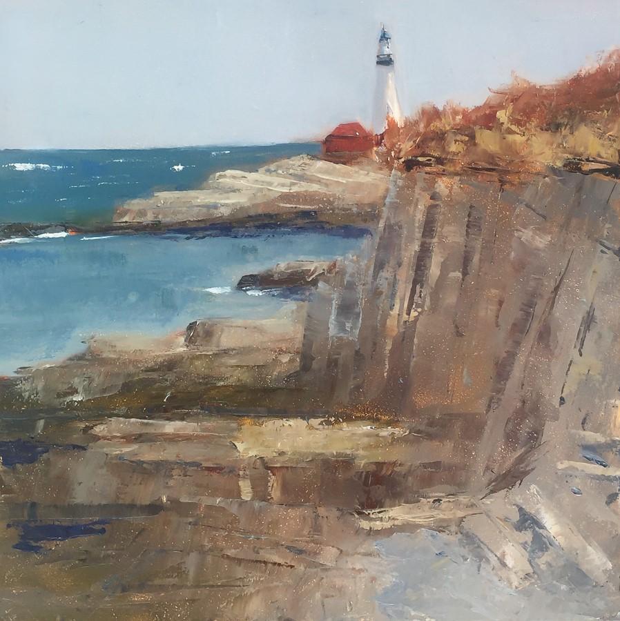 """""""#133 - Portland Headlight - Cape Elizabeth, ME"""" original fine art by Sara Gray"""