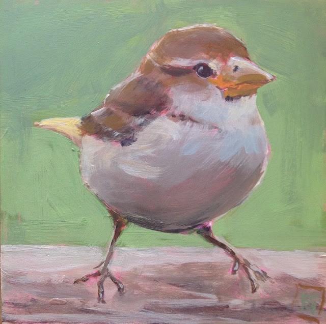 """Darling Sparrow, 6x6 inch Acrylic Painting by Kelley MacDonald"" original fine art by Kelley MacDonald"