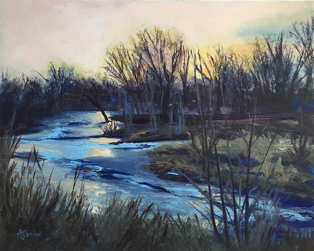 """""""River Twilight"""" original fine art by Andrea Jeris"""