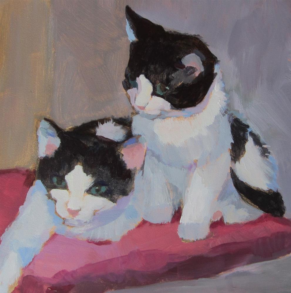 """""""Black and White Kittens"""" original fine art by Kaethe Bealer"""