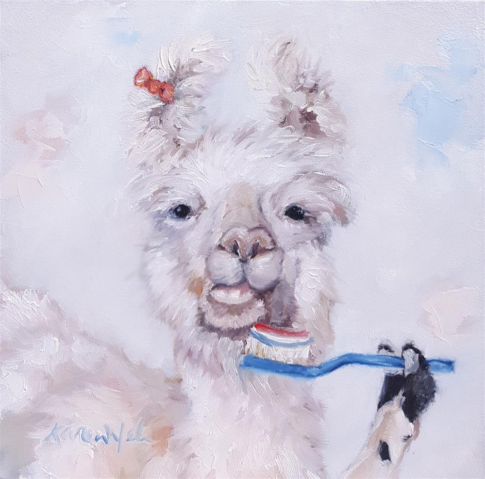 """Llama Brush My Teeth"" original fine art by Karen Weber"