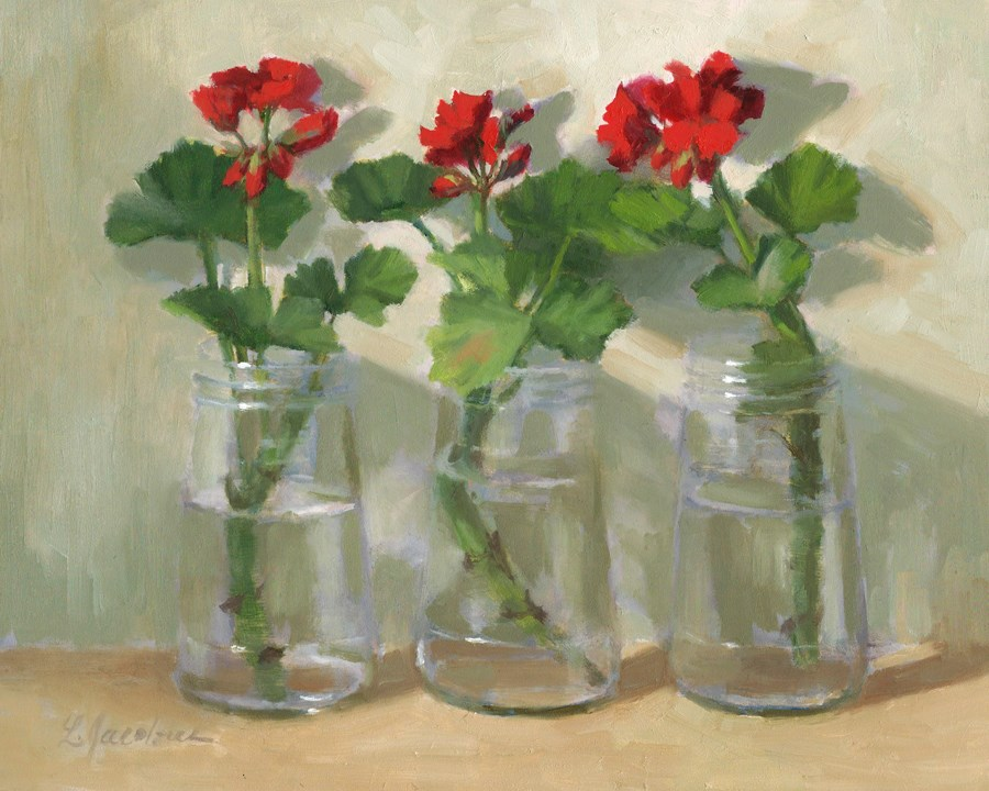 """Geranium Cuttings"" original fine art by Linda Jacobus"